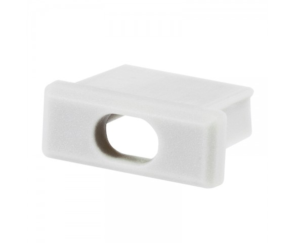 White End Cap w/ Wire Hole for KLUS MICRO-ALU LED Channels - KLUS 21001