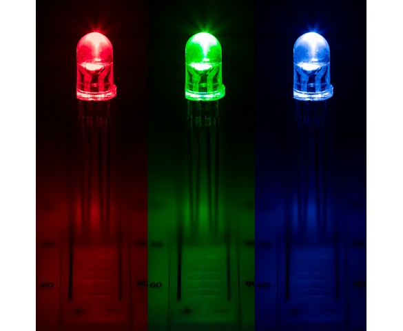 5mm Clear Tri-Color LED - RGB T1 3/4 LED w/ 15 Degree Viewing Angle