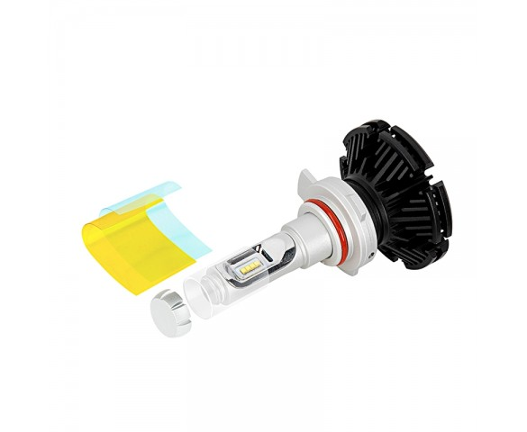 Motorcycle 9012 LED Fanless Headlight Conversion Kit with Adjustable Color Temperature and Compact Heat Sink - 2,500 Lumens