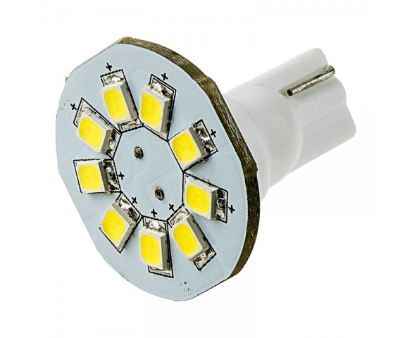 921 LED Landscape Light Bulb - 9 SMD LED Disc - Miniature Wedge Retrofit - 130 Lumens