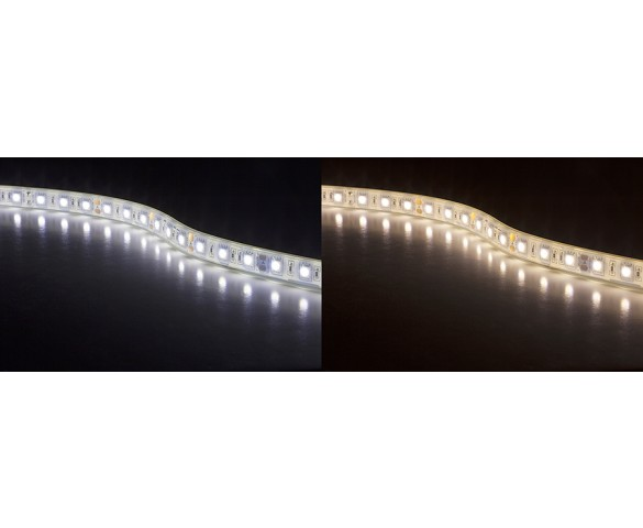 Waterproof LED Light Strips - Outdoor LED Tape Light with 18 SMDs/ft., 3 Chip SMD LED 5050: Cool White/ Warm White