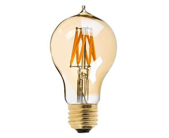 LED Filament Bulb - Gold Tint Victorian Style A19 LED Bulb with 7 Watt Filament LED - Dimmable