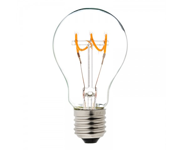 Flexible Filament LED Bulb - A19 Carbon Filament Style Bulb - Dimmable 10 Watt Equivalent - Spiral Horizontal Loop - 60 Lumens
