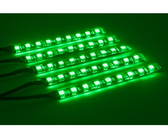 Motorcycle Color Changing RGB LED Glow Strip Lighting Kit: On Showing Kit Strips In Green, Blue, Red, Magenta, Yellow, And White.
