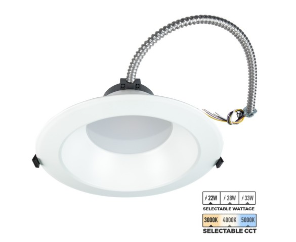 "10"" LED Commercial Recessed Downlight - Selectable CCT - Selectable Wattage - 100W Equivalent - Dimmable - 2200-3300 Lumens"