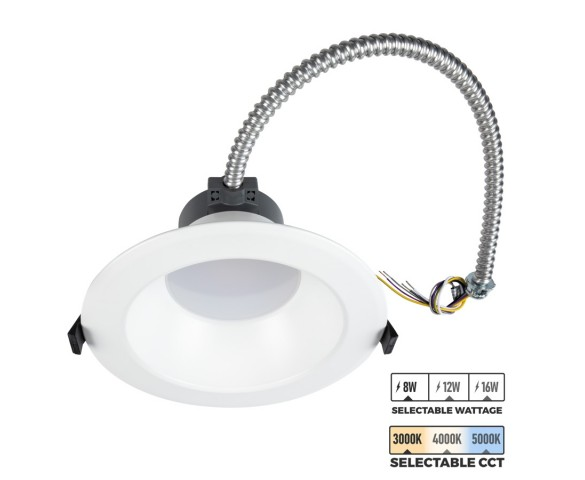 "6"" LED Commercial Recessed Downlight - Selectable CCT - Selectable Wattage - 75-100W Equivalent - Dimmable - 800-1600 Lumens"