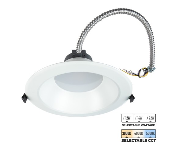 "8"" LED Commercial Recessed Downlight - Selectable CCT - Selectable Wattage - 100W Equivalent - Dimmable - 1200-2200 Lumens"