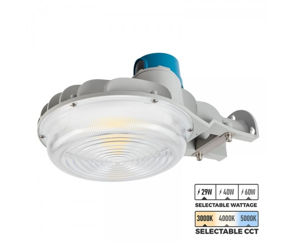 Gray LED Dusk to Dawn Area Light - Selectable CCT and Wattage - Photocell Included - 3900-8400 Lumens