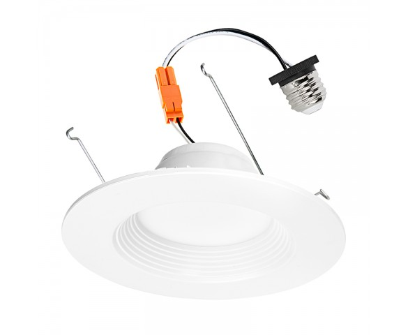 "LED Recessed Lighting Kit for 5"" to 6"" Cans - Retrofit LED Downlight w/ Baffle Trim - 60 Watt Equivalent - Dimmable - 800 Lumens"