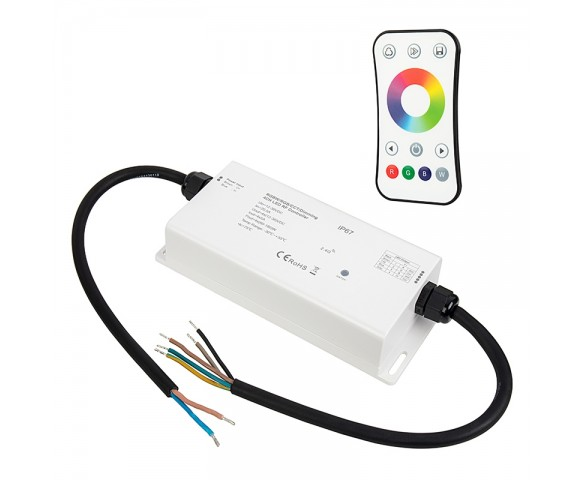 Waterproof 4 Channel Receiver with RGB/RGBW RF Remote - 5 Amps/Channel