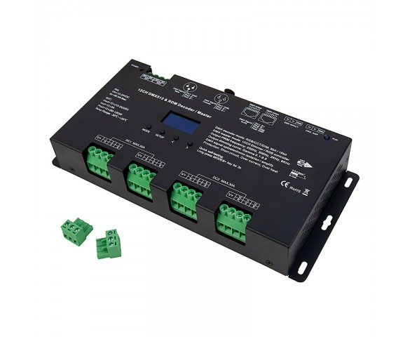DS series 12 Channel DMX512 and RDM Decoder converts DMX and RDM signals to PWM for single color, CCT and/or RGB LED lighting products.