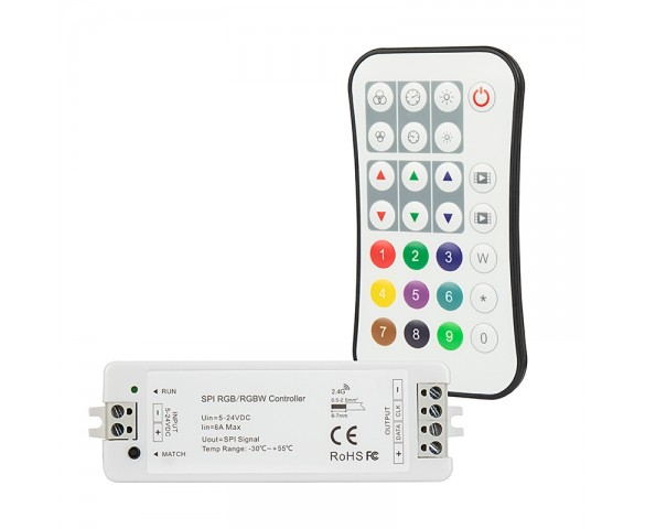 Digital LED Controller with RF Wireless Remote - 5-24 VDC