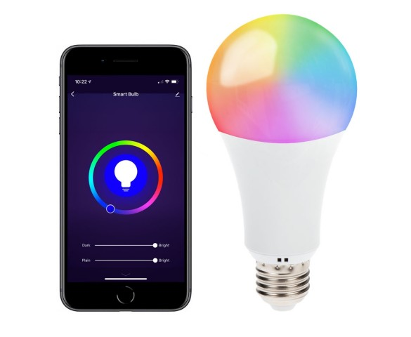 Wi-Fi Smart LED Bulb - RGBW Color Changing A19 Bulb -10W - Alexa/Google Assistant/Smartphone Compatible - 60W Equivalent