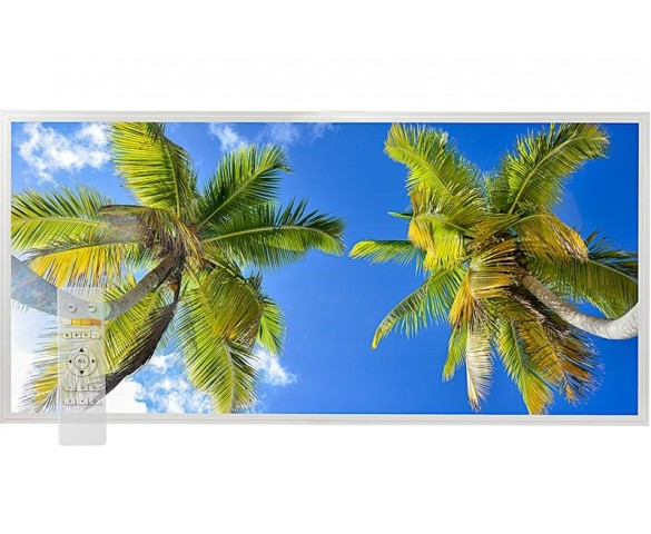 Tunable White LED Skylight w/ Palm Trees Skylens® Diffuser - 2x4 Dimmable LED Panel Light - Drop Ceiling
