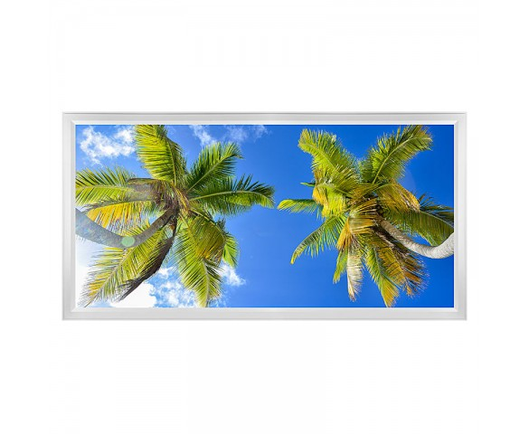 LED Skylight w/ Palm Trees Skylens® - 2x4 Dimmable LED Panel Light - Flush Mount/Drop Ceiling Recessed Mount