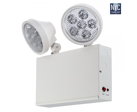 Dual-Head NYC Emergency Light with Battery Backup - Adjustable Light Heads