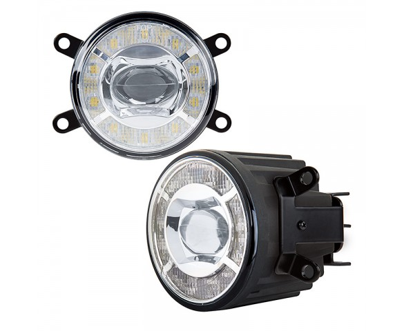 "3-1/2"" LED Projector Fog Lights Conversion Kit w/ Halo Daytime Running Lights - Toyota/Nissan - 500 Lumens"