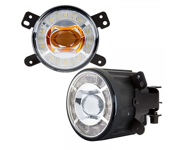 "3-1/2"" LED Projector Fog Lights Conversion Kit w/ Halo Daytime Running Lights - Chrysler/Jeep/Dodge"