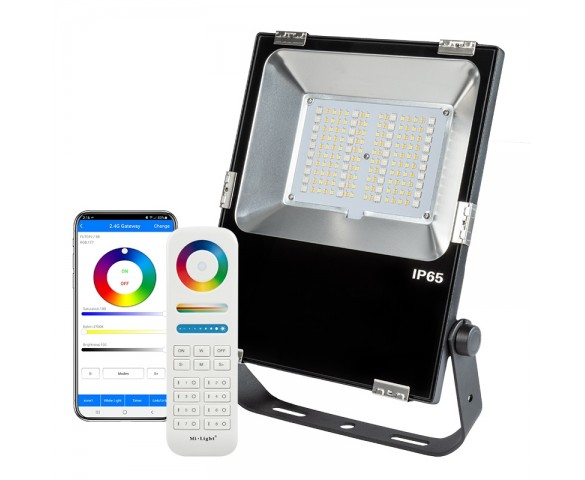 60W Smart LED Flood Light Fixture - MiLight / MiBoxer RGB+Tunable White - 120V - 6000 Lumens