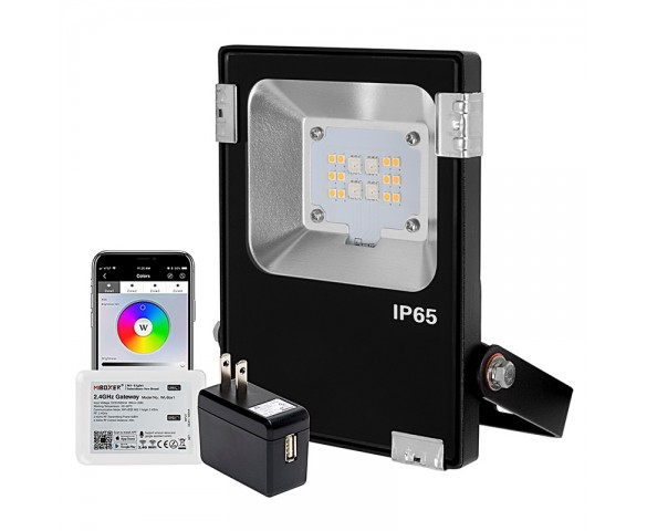 12V WiFi Smart 10W LED Flood Light - RGB+W Flood Light - Smartphone Compatible - RF  Remote Optional