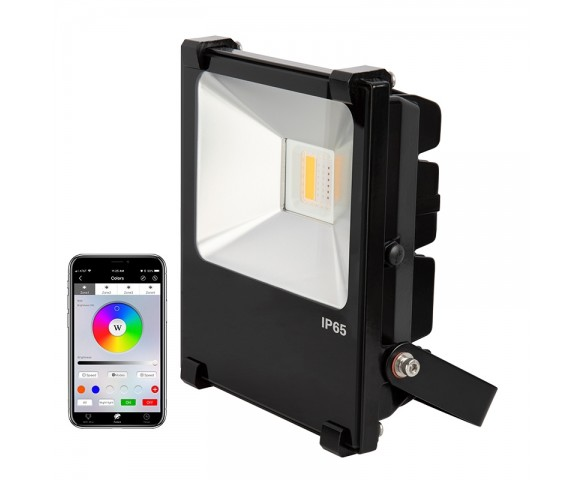 20W Color-Changing Wi-Fi LED Flood Light - RGB+White - 550 Lumens - Smartphone Compatible or w/ Optional Remote - 60W Equivalent