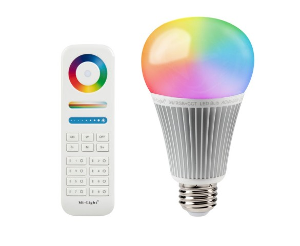 A19 MiLight RGB+Tunable White LED Bulb - 9-Watt (60-Watt Equivalent) - 850 Lumens - RF Remote Optional