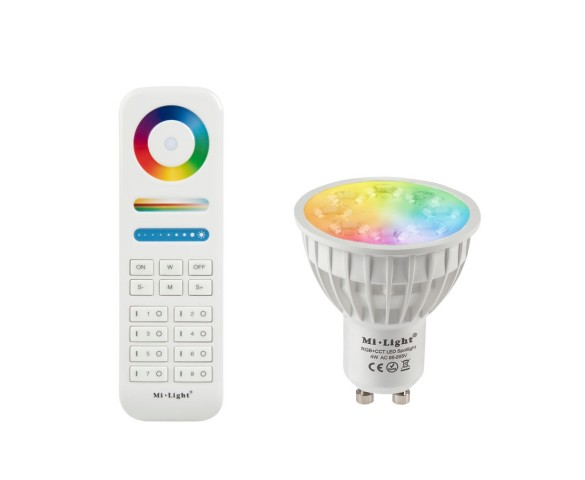 GU10 MiLight RGB+Tunable White LED Bulb - 4-Watt (40-Watt Equivalent) - 280 Lumens - RF Remote Optional