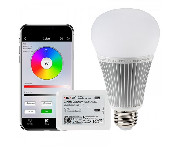 9W A19 MiBoxer WiFi Smart LED Light Bulb - RGB+Tunable White - Smartphone Compatible - 60W Equivalent - 850 Lumens - With WIFI Hub