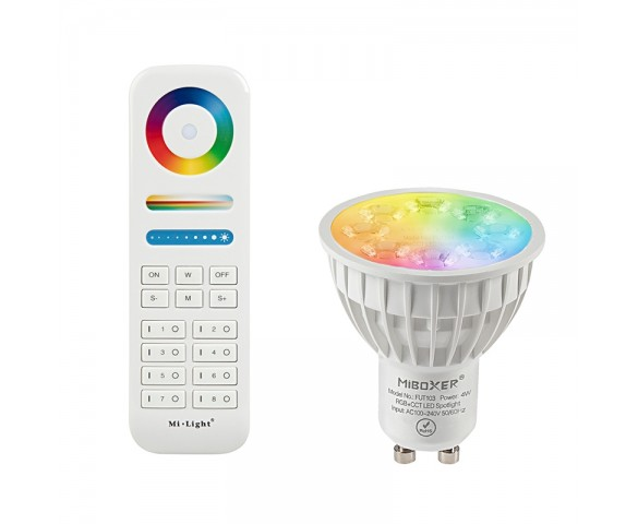 GU10 MiLight RGB+Tunable White LED Bulb - 4-Watt (35-Watt Equivalent) - 280 Lumens - RF Remote Optional