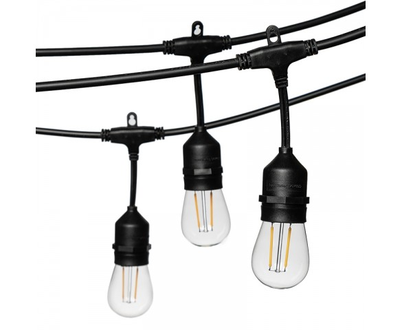 33' Patio Outdoor LED String Lights with 15 Filament Bulbs - Suspended Sockets - 2200K/2700K
