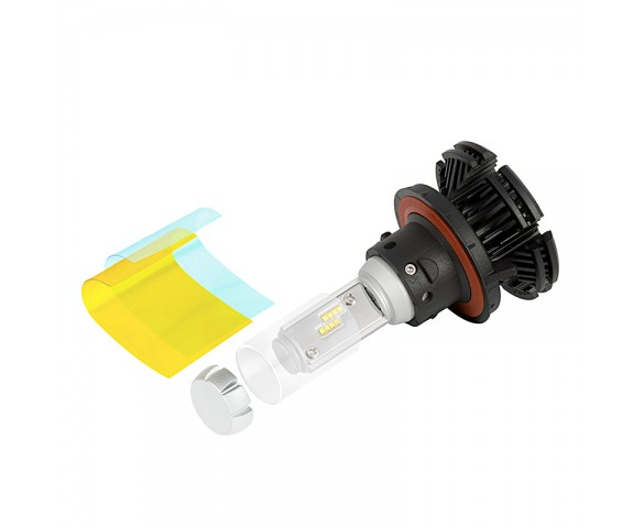 Motorcycle LED Headlight Kit - H13 LED Fanless Headlight Conversion Kit with Adjustable Color Temperature and Compact Heat Sink