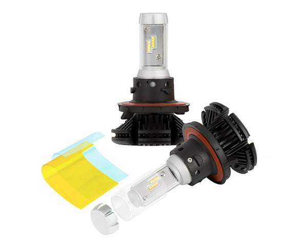 LED Headlight Kit - H13 LED Fanless Headlight Conversion Kit with Adjustable Color Temperature and Compact Heat Sink