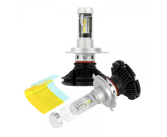 LED Headlight Kit - H4 LED Fanless Headlight Conversion Kit with Adjustable Color Temperature and Compact Heat Sink