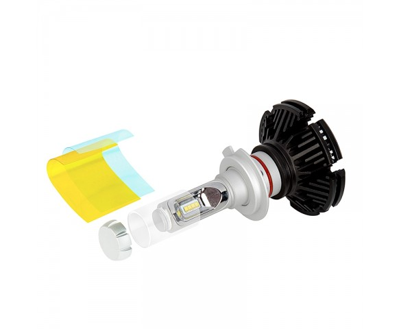 Motorcycle H7 LED Fanless Headlight Conversion Kit with Adjustable Color Temperature and Compact Heat Sink - 2,500 Lumens