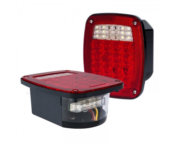 LED Combo Box Light Kit - Multi-Function Truck and Trailer Light with License Plate Light - Universal Mount LED Brake/Turn/Tail Lights - Stud Mount