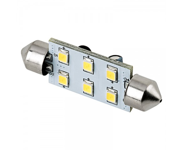 6451 LED Bulb - 6 SMD LED Festoon - 42mm