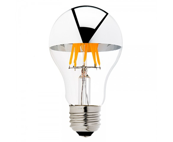 LED Filament Bulb - Silver Tipped A19 LED Bulb w/ Filament LED - Dimmable