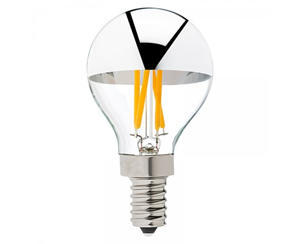 LED Filament Bulb - Silver Tipped G14 Candelabra LED Bulb w/ Filament LED - Dimmable
