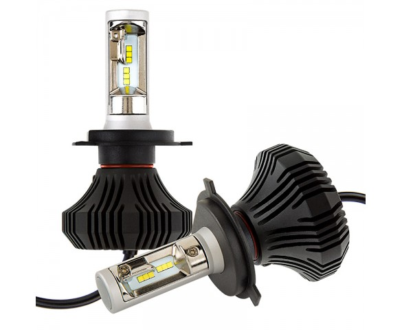 LED Headlight Kit - H4 LED Fanless Headlight Conversion Kit with Compact Heat Sink