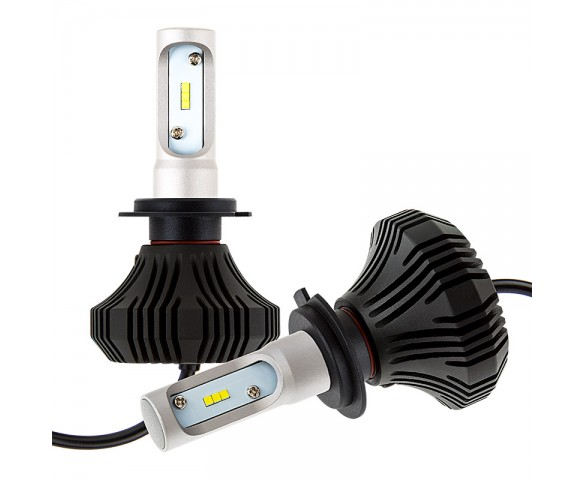 LED Headlight Kit - H7 LED Fanless Headlight Conversion Kit with Compact Heat Sink