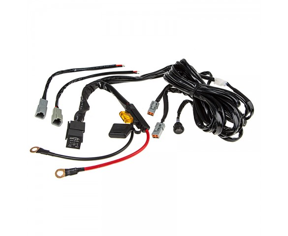 led light wiring harness with switch and relay - dual output - atp  connector | super bright leds
