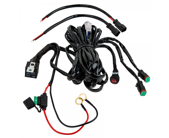 LED Light Wiring Harness with Weatherproof Switch and Relay - Dual Output, DT Connector: