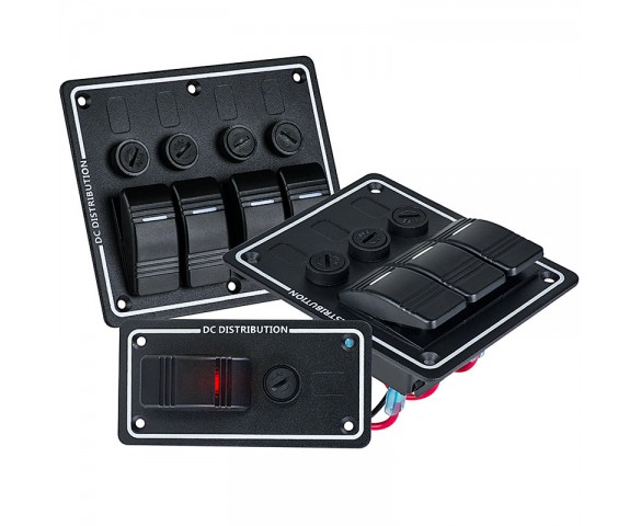LED Rocker Switch Panels with Fuse - Weatherproof DC Distribution Switch Panel