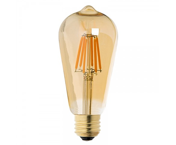 LED Vintage Light Bulb - Gold Tint ST18 Shape - Edison Style Antique Bulb with Filament LED - Dimmable