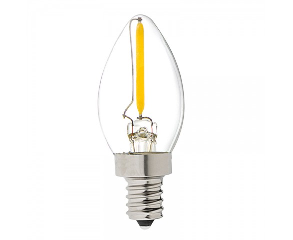 LED Vintage Light Bulb - Decorative C7 LED Bulb w/ Filament LED - 2W Blunt Tip Candle Bulb