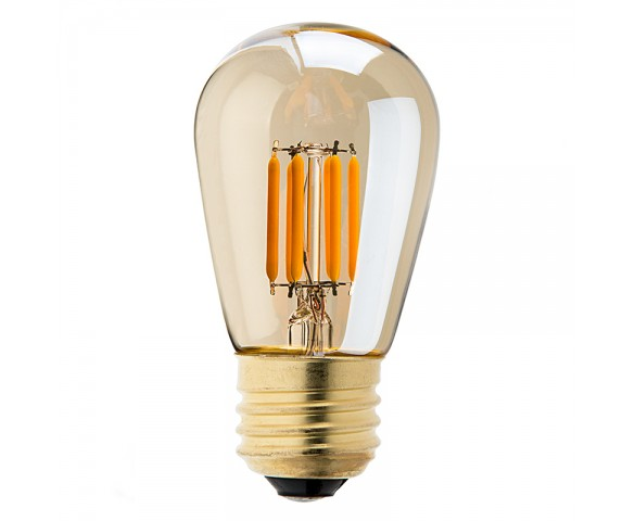 LED Vintage Light Bulb - S14 LED Sign Bulb w/ Gold Tint - Filament LED - Dimmable