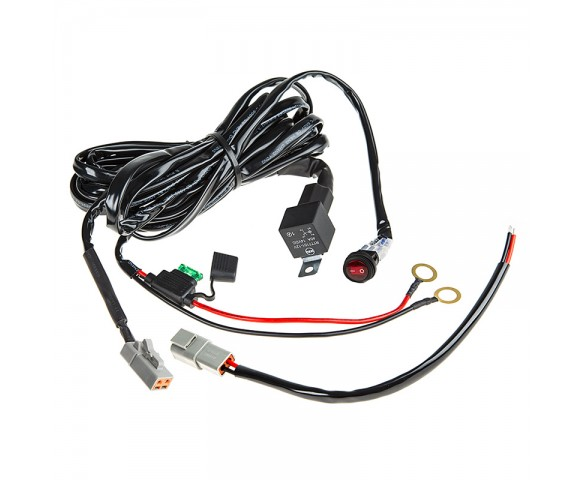 LED Light Wiring Harness with Weatherproof Switch and Relay - Single on