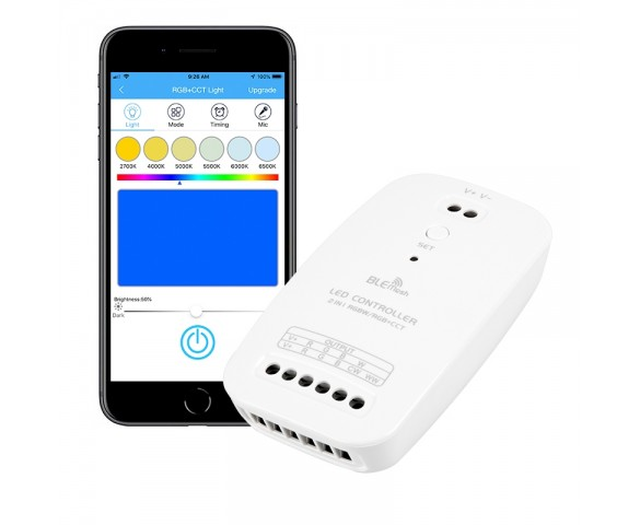 Bluetooth RGBW/RGB+Tunable White LED Controller - Smartphone Compatible - 5  Amps/Channel