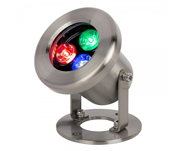 3W Underwater RGB LED Light - Pond and Landscape Spotlight - Auto Cycling Color Changing - 12V AC/DC