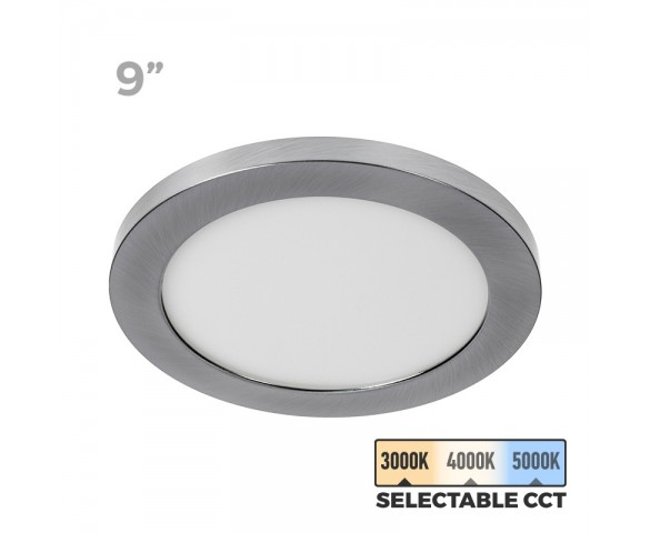 "9"" Selectable White LED Downlight w/ Satin Nickel Trim - 18W Flush Mount Ceiling Light - 1,440 Lumens - 100 Watt Equivalent - Dimmable"